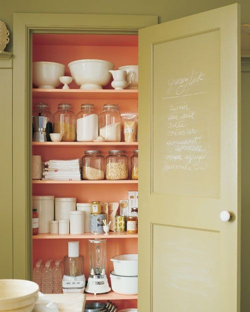 Martha Stewart coral pantry closet shelves...love the pop of color of a painted closet.