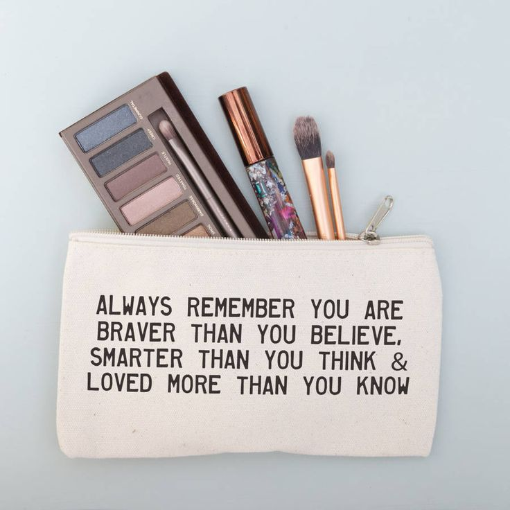 Make up pouch which you can personalise with your choice of positive message or inspirational quote.Due to the coarse natural texture of the product some areas of print impression may be uneven.A practical and personal gift for keeping make up and handbag essentials tidy. This stylish pouch will make a great gift for friends and loved ones....sisters, mum, wife or girlfriend. A simple and creative design, perfect to store small toiletries and make up & making a lovely gift for birthdays,...