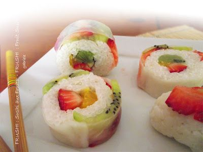 Fruit sushi for dessert!! I made a version of this a few yrs back! Rolled the rice in toasted almond slices  yummm