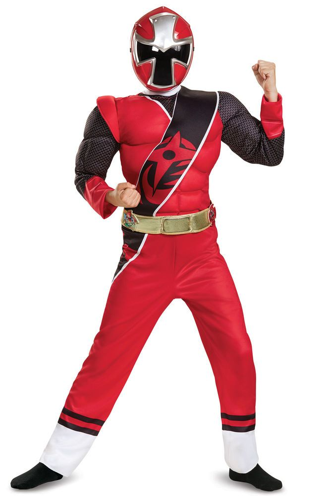 Boys Deluxe Red Ninja Steel Power Ranger Costume Child Fancy Dress