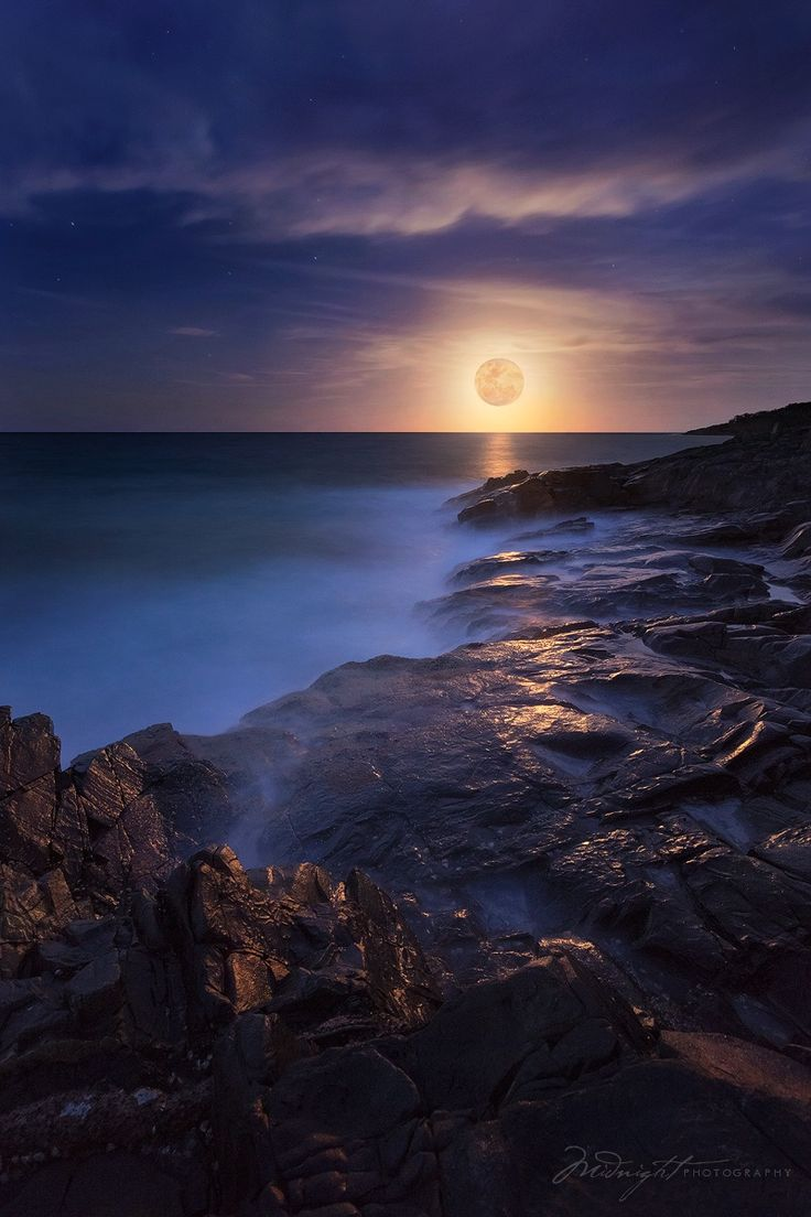 Lunar Swell, Full Moon Rising from Noosa National Park last night, Australia, by Midnight Photography, on 500px.