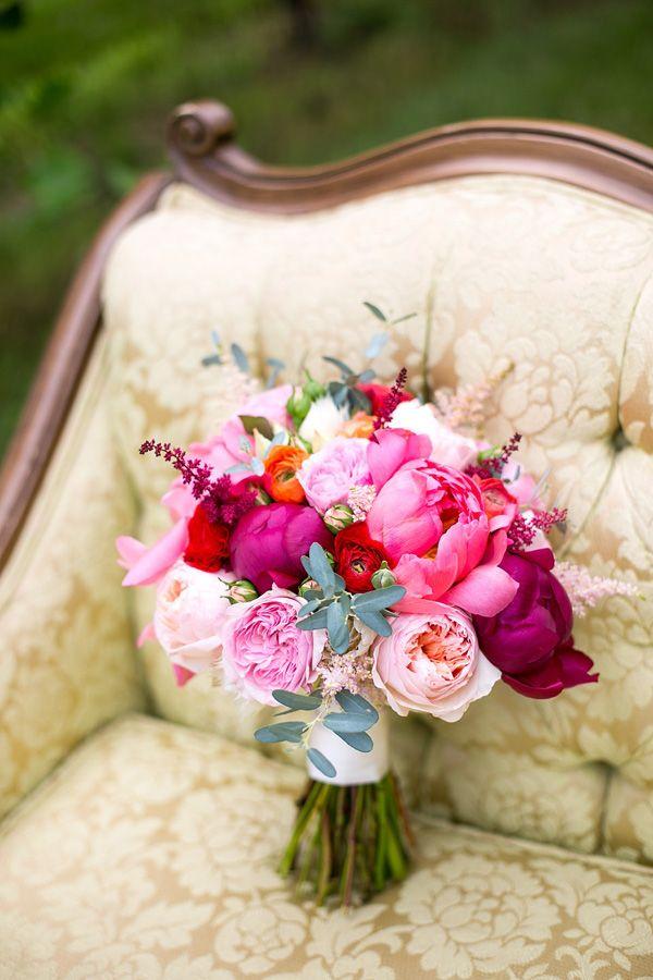 #sangria wedding #fuchsia peony bouquet
