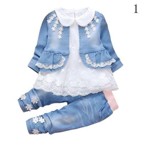 799be7cd05fb Winter Infant Baby Girls Long Sleeves T Shirt Denim Jacket Jeans ...