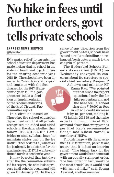 Don't hike fees in schools until further orders, Telangana government told to private schools in the state. #LegalLawyersinHyderabad        #LegalAdvocatesinHyderabad #AbhayaLegalServices                 #LegalServicesinHyderabad