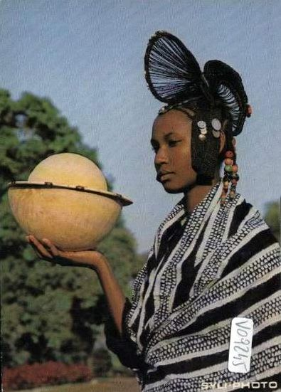 Africa | Young Foulah woman with traditional hairstyle. Republic of  Guinea || Scanned old postcard.
