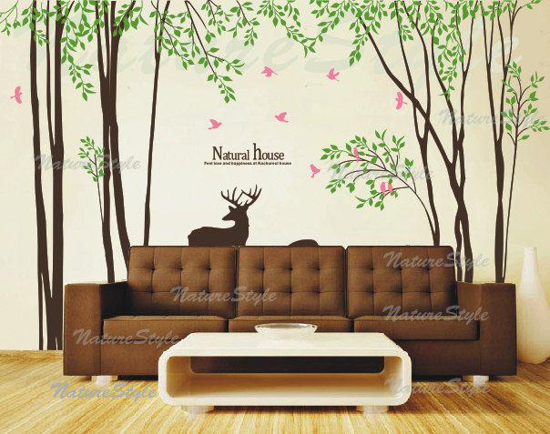 Trees Wall Decal Nursery Wall Decal Baby Girl Room Decal Living Room Decal  Decal Birds   Tree With Flying Birds And Deer