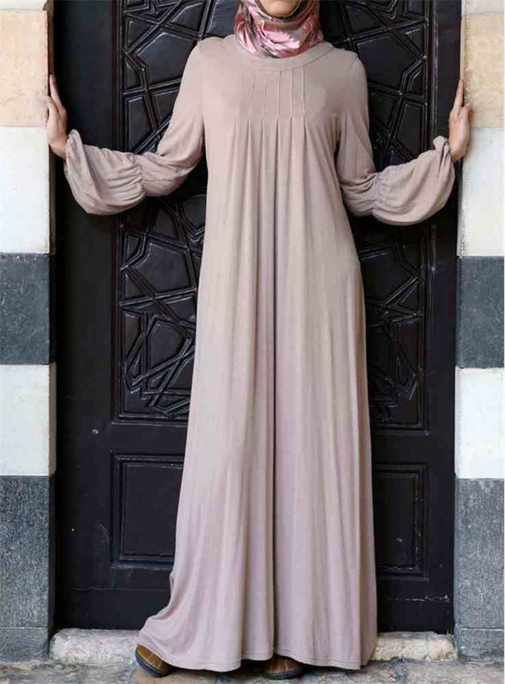 SALE- 15% OFF -Dusty Pink Pleated Neck Jersey Cotton Maxi Dress- Casual dress- Perfect Modest Dress - Abaya Jilbab - Size M/L- UK Seller by OummAnna on Etsy https://www.etsy.com/listing/245780410/sale-15-off-dusty-pink-pleated-neck