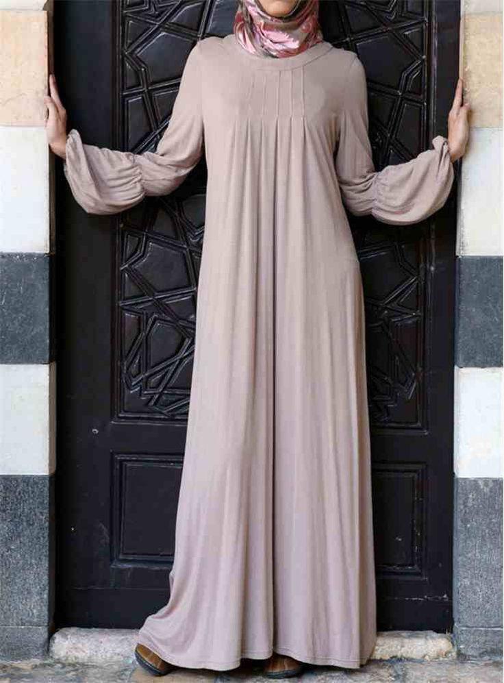SALE- 15% OFF -Dusty Pink Pleated Neck Jersey Cotton Maxi Dress- Casual dress- Perfect Modest Dress - Abaya Jilbab - Size M/L- UK Seller by OummAnna on Etsy https://www.etsy.com/listing/245780410/sale-15-off-dusty-pink-pleated-neck