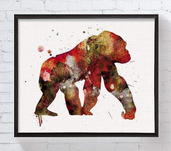 Watercolor Gorilla Gorilla Art Print Gorilla by MiaoMiaoDesign