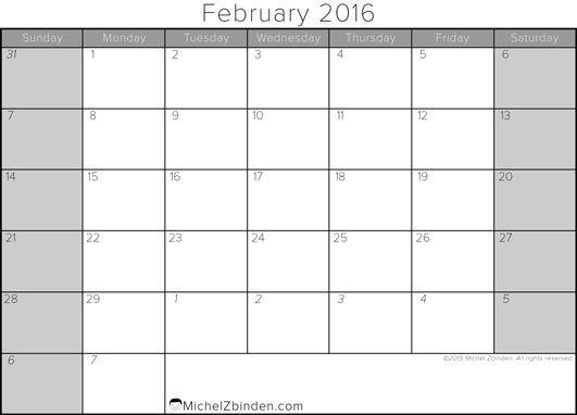 February 2016 Calendar Singapore