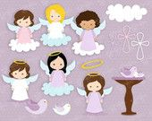 ANGELS IN HEAVEN 2  Digital Clipart, Angels Digital Clipart, Baptism Clipart  / Instant Download
