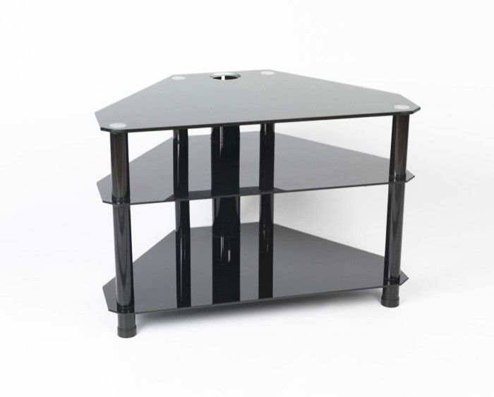 "Iconic All Black Glass TV Stand - Up to 42"" - Gamba Blk42.  Suitable for televisions up to 42"" wide, this glass TV stand is in black glass with four chrome legs with a central tube for cable management with two shelves.  Dimensions: 950mm(w), 460mm(d), 480mm(h).  8mm top shelf 5mm lower shelves Tension rod construction Central tube for cable management.  All our glass TV stands are compatible with most modern TVs."