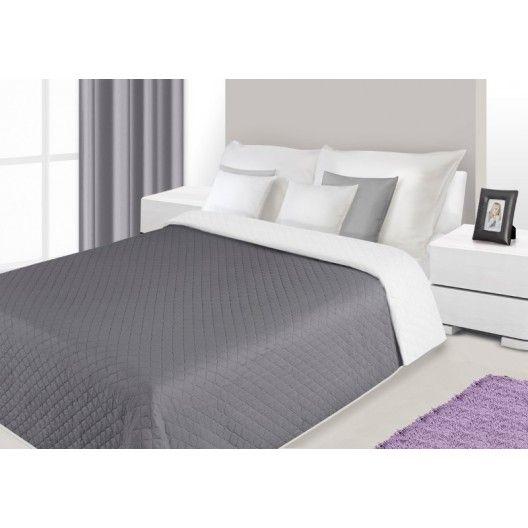 Luxusné obojstranné prehozy na posteľ tmavo sivej farby