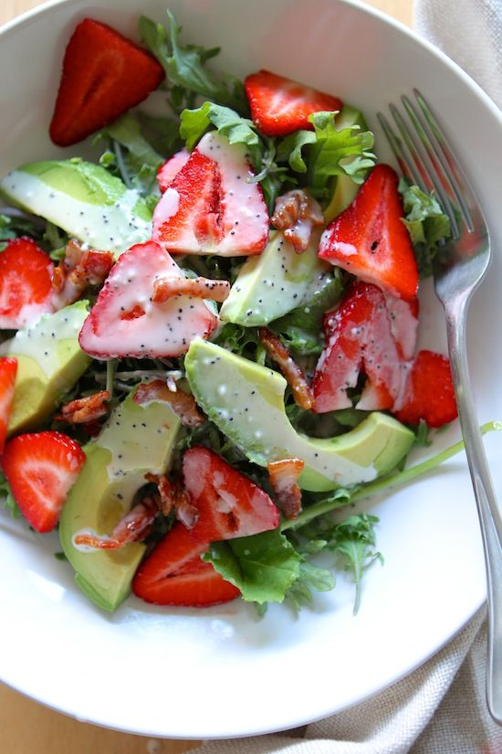 Strawberry Avocado Kale Salad with Bacon Poppyseed Dressing
