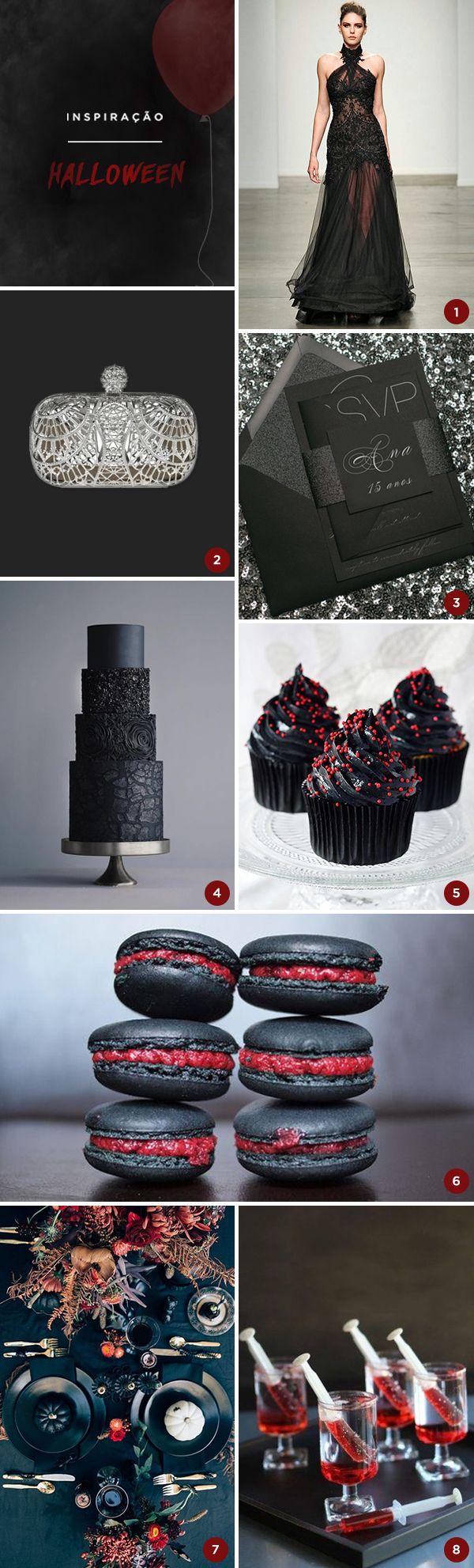 8 ideias para uma festa de 15 anos com tema Halloween - Moodboard de festa temática - Constance Zahn | 15 anos