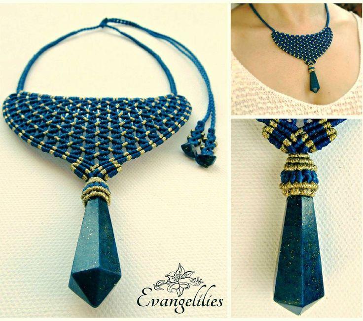 "✿ ""Katerina"" macrame necklace with Lapis Lazuli  #macrame #macramenecklace #micromacrame #micromacramejewelry #macramejewelry #evangelilies  #macramelove #macrameart #handmadejewelry #μακραμέ #χειροποίητο #handmade #knottedjewelry #jewelry #jewellery #makrame #necklace #handmadewithlove #handmadenecklace #madeingreece #madebyme #lapislazuli #lapislazulijewelry #lapis #lapisstone #lazurite  #macrameartist #macramé #ilovemacrame #makramé"