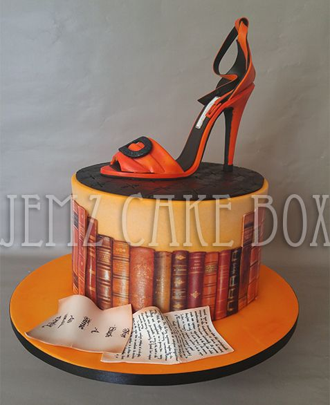 Celebration Cake with Hand made shoe topper designed and made by Jemz Cake Box