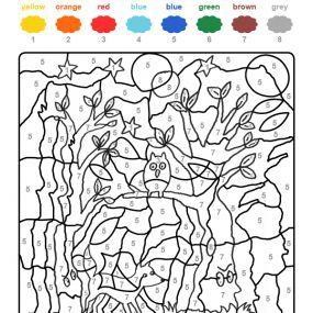 Colour by numbers : un hibou dans la forêt hantée
