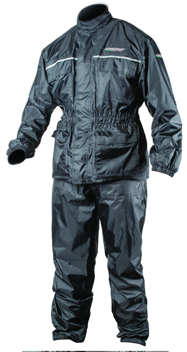 AGVSPORT Thunder 2PC Rain Suit (Black) - Size matched jacket and pant are sold together.  Constructed from waterproof, Polyurethane backed nylon shell with sealed seam construction. Sized to be worn over riding apparel.  Dual wind flap and jacket closure keeps moisture sealed out. Pants include removable suspenders and leg stirrups. Click on the picture for more information!