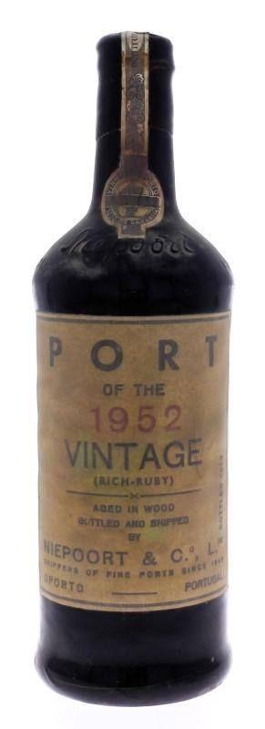 Garrafa de Vinho do Porto, Niepoort´s, Colheita 1952, Vintage, (Rich-Ruby), Niepoort & Cª, Engarrafada em 1970