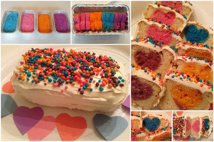 Une version St-Valentin multicolore du gâteau avec une image cachée
