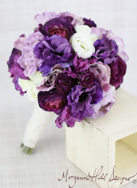 Silk Bride Bridesmaid Bouquet Roses Ranunculus Anemone Purple Country Wedding Lace (Item Number 130119). $89,00, via Etsy.