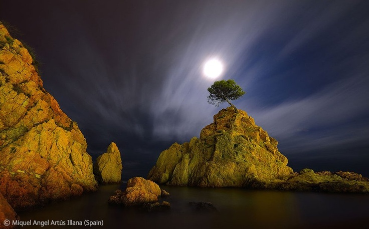Tossa de Mar bay in the moonlight on the north-east of Spain.