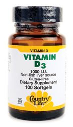 Country Life Vitamin D3 1,000 IU 100 Sgels - Swanson Health Products $4.79
