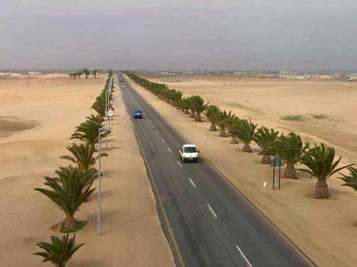 I waited for a long time on this photo of my desert. The road between Walvis Bay and Swakopmund