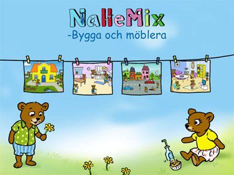 NalleMix 2 - Bygga och möblera är utvecklat enligt grundläggande svensk förskolepedagogik. Här kan barnen sysselsätta sig i timmar med att bygga upp sina egna bilder i fyra olika miljöer.   Man kan dekorera hus och trädgård, bygga sin stad, möblera vardagsrum och möblera kök.  Många underbara bilder och animationer med en nalle som ger instruktioner på svenska.