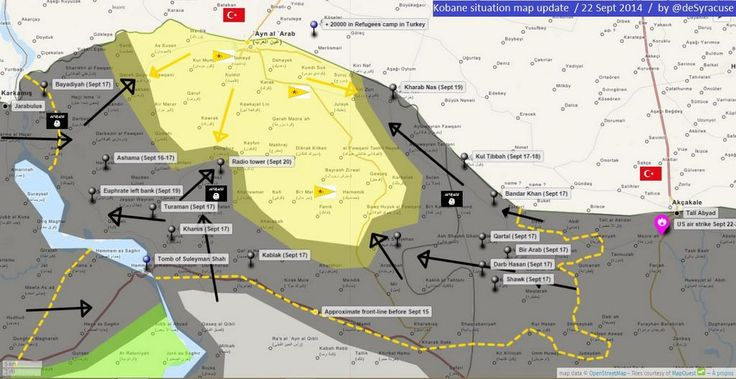 Kobane situation MAP UPDATE 22 Sept 2014
