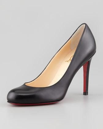 Simple Round-Toe Kidskin Red Sole Pump, Black by Christian Louboutin at  Neiman Marcus.