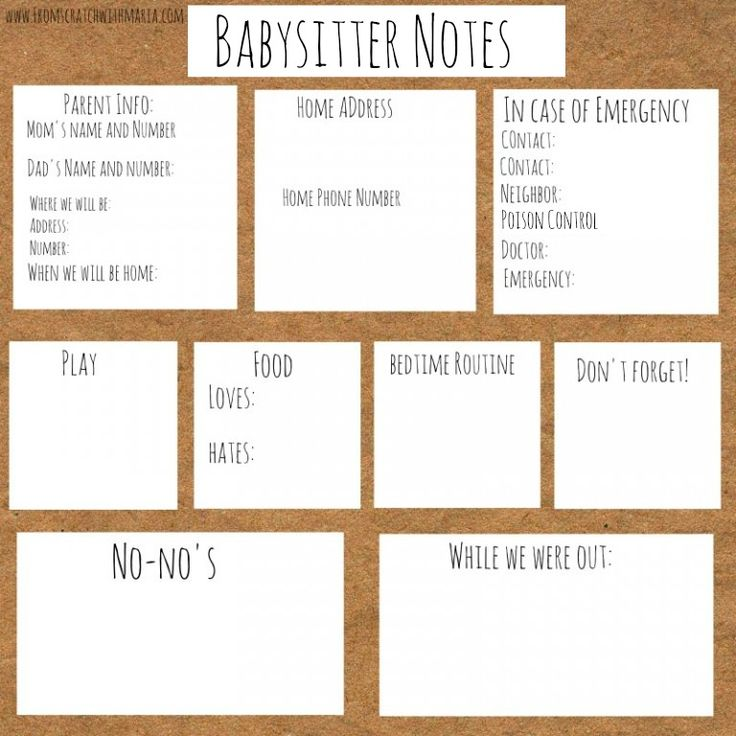 {Free Printable} Babysitter Notes For Children Ages 1 and Up! - From Scratch With Maria Provenzano