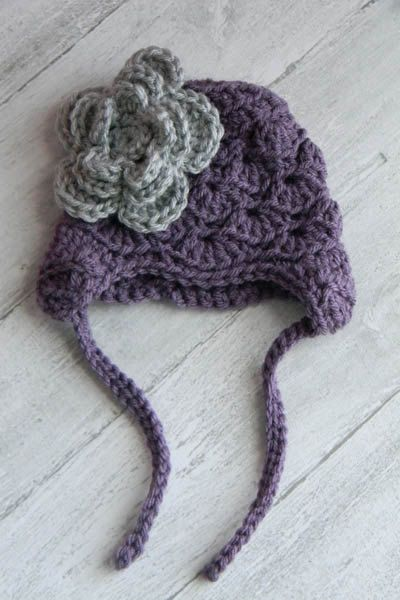 Baby Hat Baby Girl Hat Dusty Purple Hat with by LittleLovesDesigns