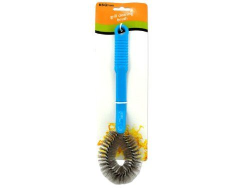 """Barbecue Grill Brush - Case of 144 by Bar B Q Time. $33.70. The barbecue cleaning brush easily removes stuck-on grime from grills and stove tops. Brush has a rounded metal head ideal for scraping caked on foods and sauces. Has a grooved plastic handle for a tight grip while scrubbing. Comes packaged on a tie card with hanging hole. Measures approximately 10 1/2"""" long."""