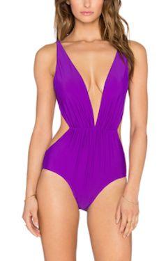 purple one piece swimsuit