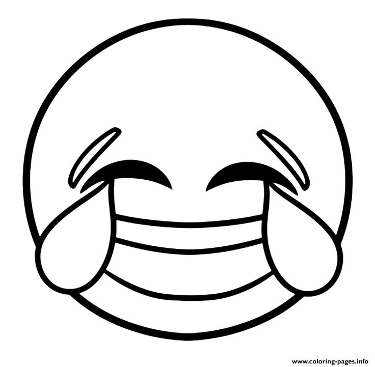 Print emoji laughing face with tears of joy coloring pages
