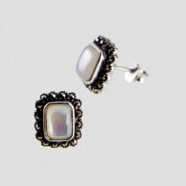 Rectangular Marcasite Studs with Mother Of Pearl Centre. #motherofpearl #jewelry #earrings #vintage