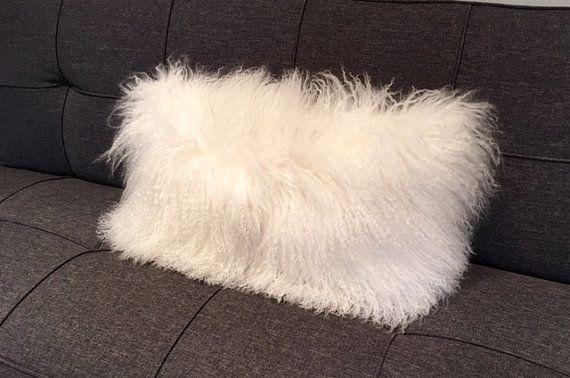 Mongolian Fur Pillow Snow White Fur Pillow Genuine