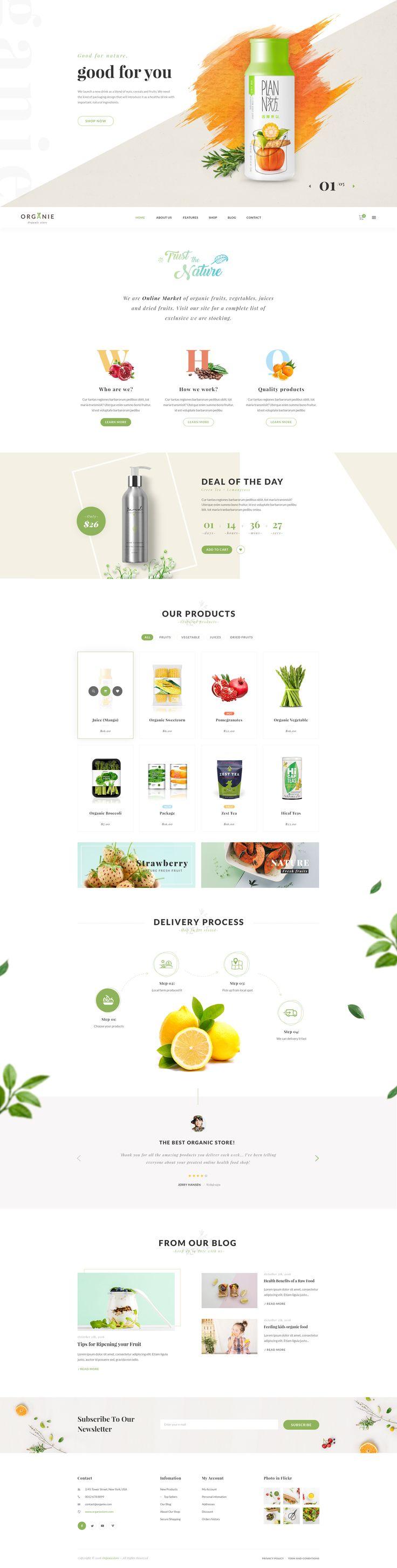 Organie - A Delightful Organic Store PSD Template • Download ➝ https://themeforest.net/item/organie-a-delightful-organic-store-psd-template/18384312?ref=pxcr