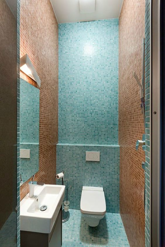 small bathroom ideas with small green and brown tile