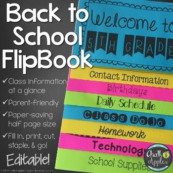 Put important back-to-school class information at parents fingertips!Now available in a money-saving bundle! Teacher's Helper Editable Flip Book Bundle*****************************************************************************This flip book is an easy way to get important information to parents for Meet the Teacher or Parent Night at the beginning of the school year.