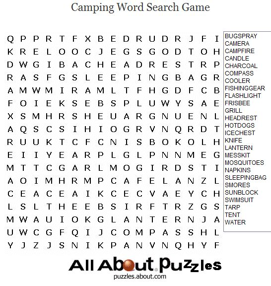 Sports Word Search Puzzles to Print: Camping Word Search