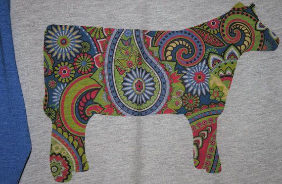 Paisley HEIFER Stockshow Stock Show Cow Blue Baseball TShirt