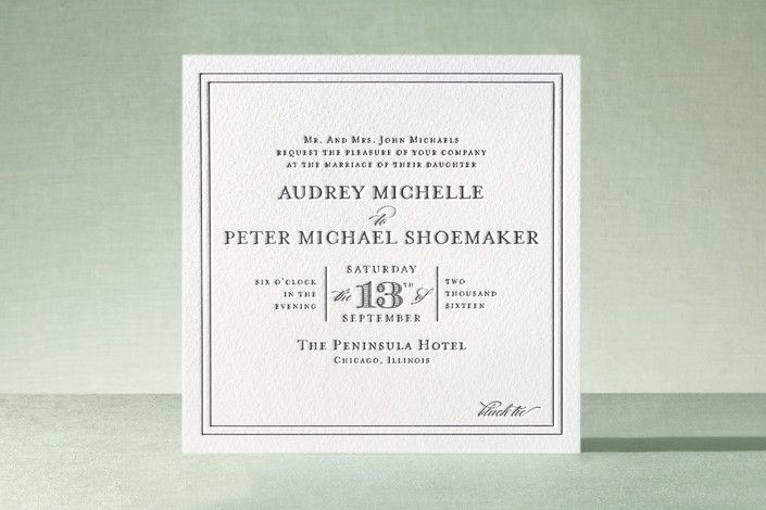 I've always loved square cards/invitation and like the modern look of this minted.com one.