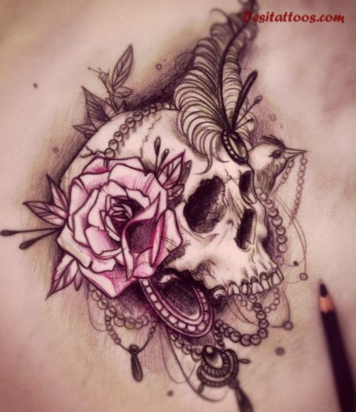 skull roses lower back tattoo - Google Search