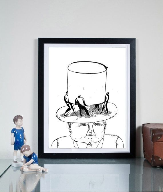 high hat ... Illustration art giclée print Signed by  Tomek Wawer #black #head #hat #Tomasz Wawer #poster
