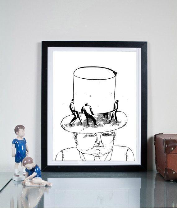 high hat ... Illustration art giclée print Signed by  Tomek Wawer #black #head #hat #Tomasz Wawer #poster