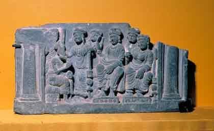 Sage Asita explaining Maya's dream, Kushan, Gandhara, India, 2nd-3rd C. Indian Sculpture-The Asian Arts Museum of Sanfrancisco, California, ACSAA