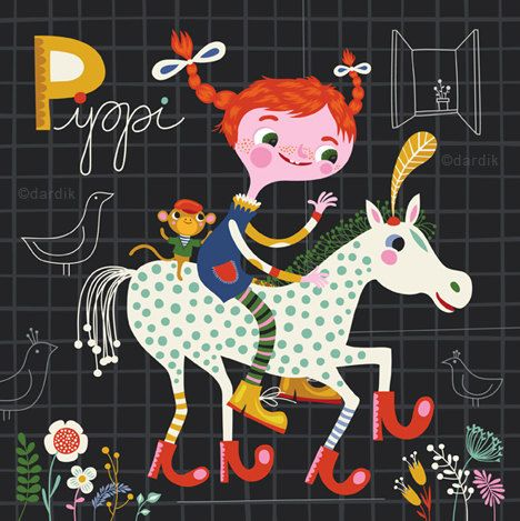 Pippi... limited edition giclee print of an original illustration (8 x 8 in, 20 x 20 cm). $20.00, via Etsy.